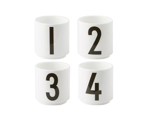 Espressobecher-Set 1234, 4-tlg., Fine Bone China, Weiß, Schwarz, Ø 5 x H 6 cm
