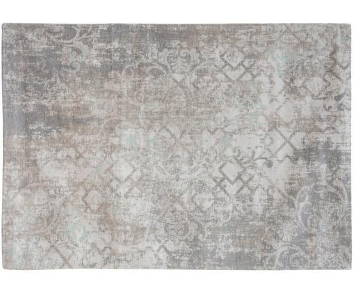 Tappeto vintage Babylon in ciniglia grigio-beige, Tessuto: Jacquard, Retro: Filato di ciniglia, rives, Grigio, beige, P 140 x L 200 cm