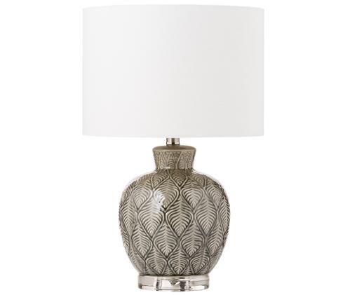 Lampe à poser Brooklyn, Socle: transparent. Pied de lampe: gris. Abat-jour crème. Câble: transparent