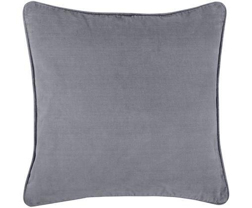 Federa arredo in velluto in grigio scuro Dana, Velluto di cotone, Grigio scuro, Larg. 40 x Lung. 40 cm