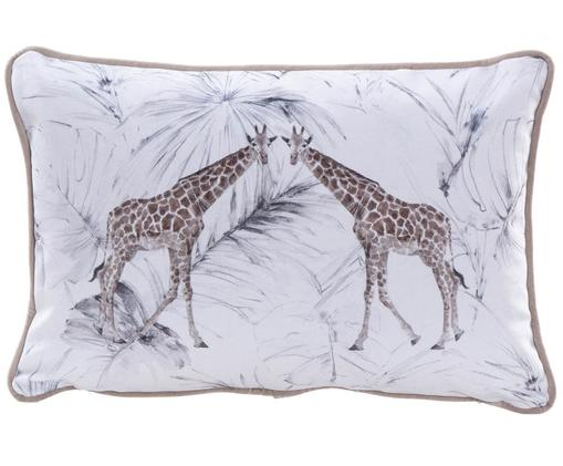 Samt-Kissen Giraffe, mit Inlett, Polyestersamt, Weiß, Braun, 30 x 45 cm