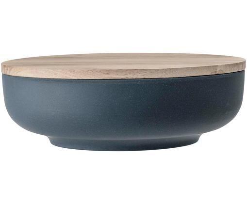 Aufbewahrungsdose Java, Schüssel: 50% Bambusfasern, 20% Mel, Deckel: Gummibaumholz, Blau, Beige, Ø 21 x H 7 cm