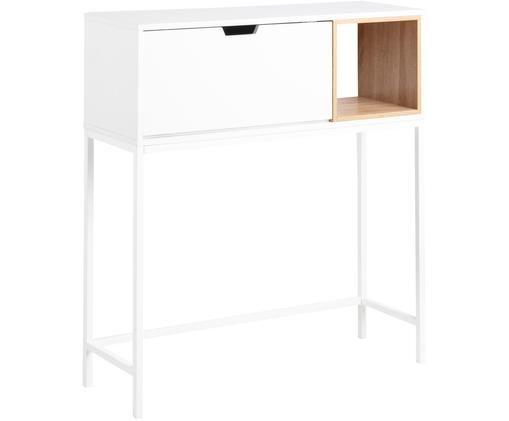 Wit bureau Satley met opbergruimte, Frame: gepoedercoat metaal, Wit, eikenhoutkleurig, B 92 x D 30 cm