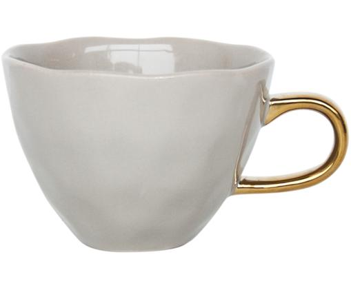 Tazza da caffè Good Morning, New bone china, Grigio, dorato, Ø 11 x Alt. 8 cm