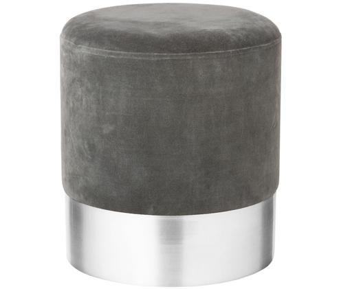 Samt-Hocker Harlow, Bezug: Baumwollsamt, Fuß: Eisen, pulverbeschichtet, Grau, Silber, Ø 38 x H 42 cm