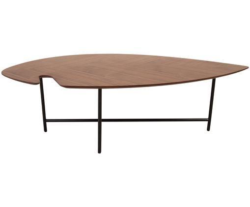 Couchtisch Leaf mit Holzplatte, Tischplatte: Mitteldichte Holzfaserpla, Gestell: Metall, pulverbeschichtet, Walnussholz, B 120 x T 60 cm