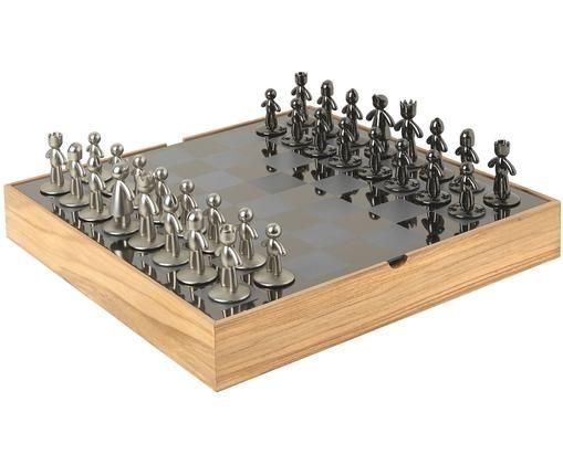 Hra šachy Buddy, 33díly, Krabice: jasan Šachovnice: titan Figurky: nikl, titan
