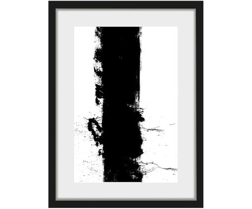 Oprawiony druk cyfrowy Line, Ilustracja: czarny, biały Rama: czarny