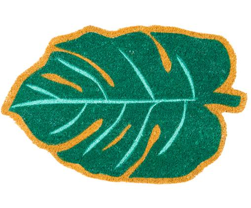 Fußmatte Leaf, Oberseite: Kokosfaser, Unterseite: PVC, Grün, Beige, 45 x 70 cm