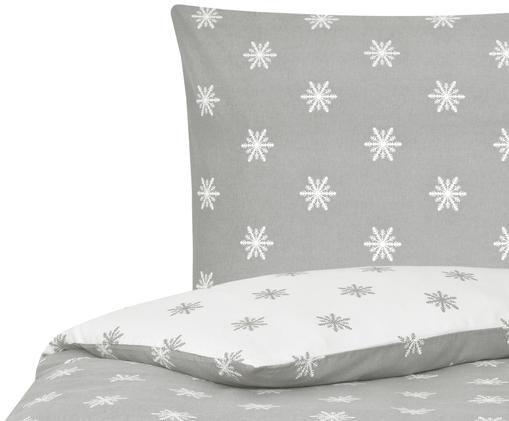 Flanell-Wendebettwäsche Alba mit Schneeflocken, Hellgrau, Weiß