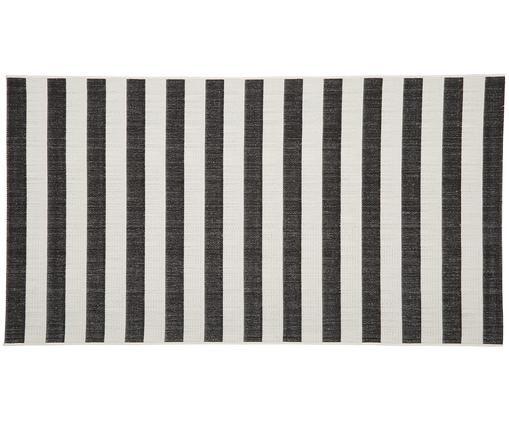 In- & outdoor vloerkleed Axa, Bovenzijde: polypropyleen, Onderzijde: polyester, Wit, zwart, B 80 x L 150 cm (maat XS)