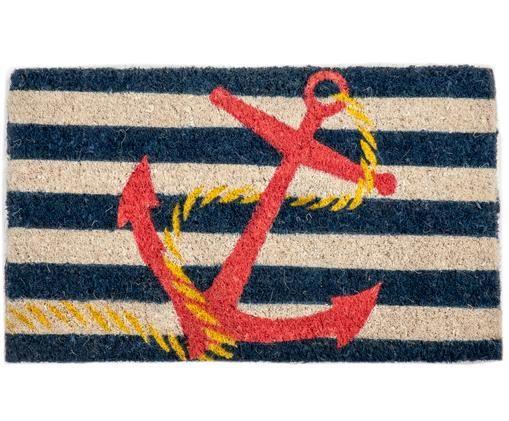 Fußmatte Anchor, Vorderseite: Kokosfaser, gebleicht, Rückseite: Kokosfaser, Hellbeige, Dunkelblau, Rot, Gelb, 40 x 60 cm