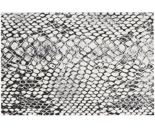 Alfombra estampada Snake, Parte superior: 100%poliéster, Reverso: 50%poliéster, 50%yute, Gris, crema, negro, An 135 x L 200 cm (Tamaño S)