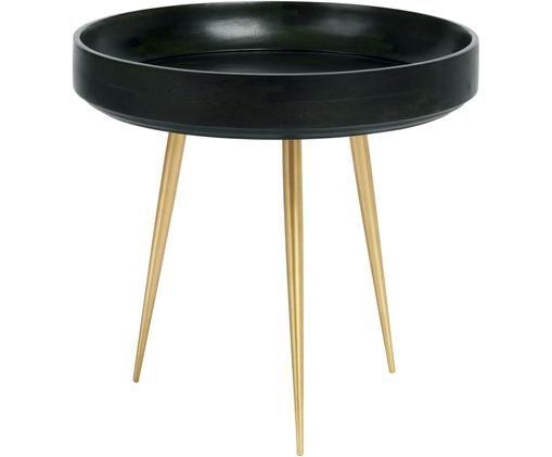 Tavolino da salotto di design Bowl Table, Piano d'appoggio: legno di mango rivestito , Gambe: metallo ottone placcato, Verde nori, colori ottone, Ø 40 x Alt. 38 cm