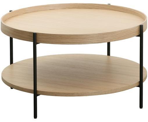 Couchtisch Renee mit Ablagefach, Gestell: Metall, pulverbeschichtet, Tischplatten: EichenholzGestell: Schwarz, matt, Ø 69 x H 39 cm