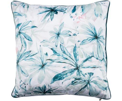 Poszewka na poduszkę z aksamitu z lamówką Foglia, 50% poliester, 50% bawełna, Biały, odcienie niebieskiego, S 50 x D 50 cm