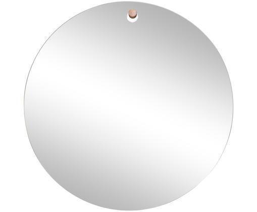 Runder Wandspiegel Farmelo mit Holzhaken, Spiegelfläche: Spiegelglas, Haken: Holz, Spiegelglas, Holz, Ø 50 cm