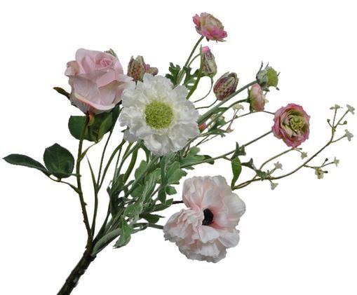 Kunstblume Hahnenfuß Hanna, Textil, Kunststoff, Schaumstoff, Metall, Grün, Weiß, Rosa, L 60 cm