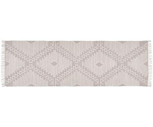 Ręcznie tkany chodnik Karola, Taupe, kremowobiały, S 80 x D 250 cm