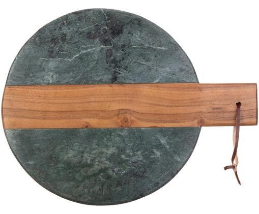 Planche à découper en marbre Anlon, Vert marbré avec partie centrale en bois