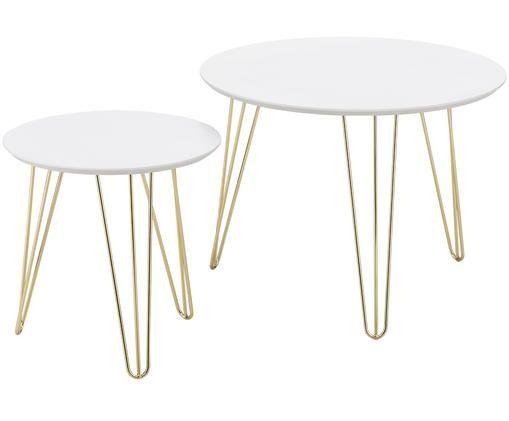 Ensemble de 2 tables d'appoint avec plateau blanc Sparks, Blanc, couleur dorée