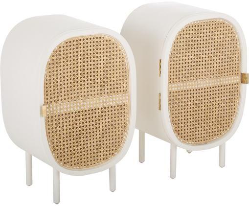 Set comodini Retro, 2 pz., Bianco, beige