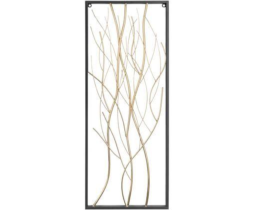 Wandobjekt Branches aus lackiertem Metall, Metall, lackiert, Schwarz, Messingfarben, Weiß, 33 x 85 cm