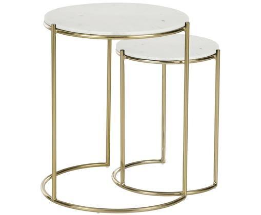 Set de mesas auxiliares de mármol Ella, Mármol blanco, dorado
