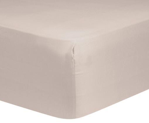 Lenzuolo con angoli per il letto continentale Comfort, raso di cotone, Taupe, Larg. 140 x Lung. 200 cm