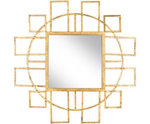 Wandspiegel Melina, Rahmen: Metall, Spiegelfläche: Spiegelglas, Goldfarben, Ø 89 cm