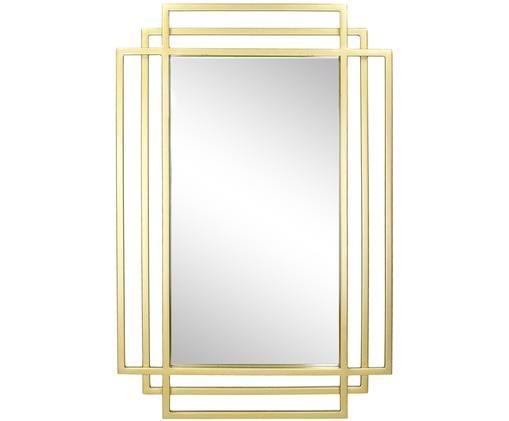 Eckiger Wandspiegel Blade mit Goldrahmen, Rahmen: Metall, lackiert, Spiegelfläche: Spiegelglas, Messingfarben, 37 x 57 cm