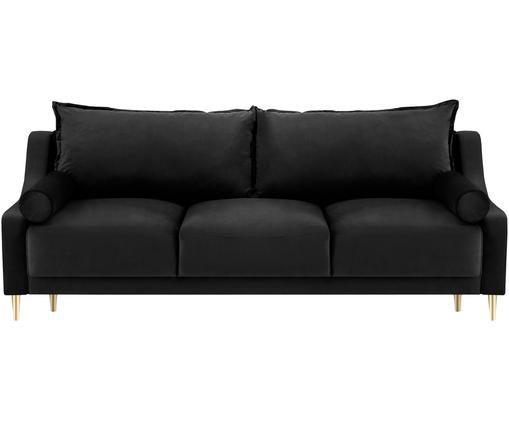 Sofa rozkładana z aksamitu Lea (3-osobowa), Tapicerka: aksamit poliestrowy, Nogi: metal malowany proszkowo, Czarny, S 215 x G 94 cm