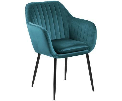 Krzesło z podłokietnikami z aksamitu Emilia, Tapicerka: aksamit poliestrowy 2500, Nogi: metal lakierowany, Butelkowy zielony, czarny, S 57 x G 59 cm
