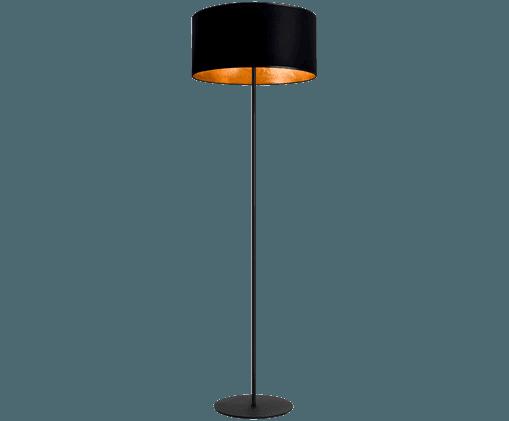 Lampadaire avec abat-jour noir Mika, Noir, couleur or