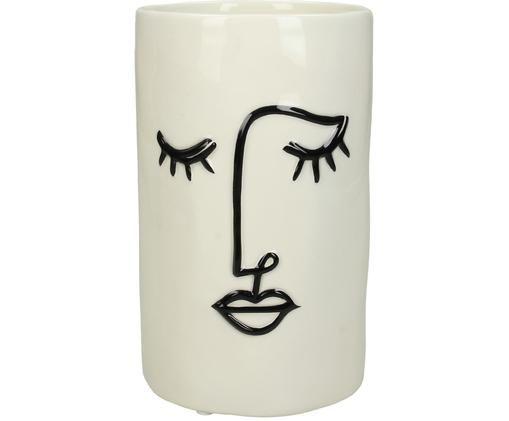 Osłonka na doniczkę Face, Kamionka, Złamana biel, czarny, Ø 11 x W 18 cm