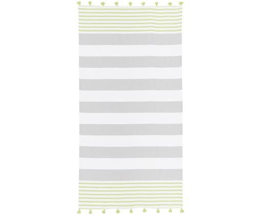 Fouta z frędzlami Pytris, Bawełna Bardzo niska gramatura, 185 g/m², Zielony, szary, biały, S 95 x D 175 cm