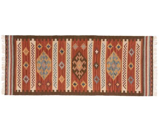 Ręcznie tkany chodnik z wełny Zohra, Czerwony, wielobarwny, S 80 x D 200 cm