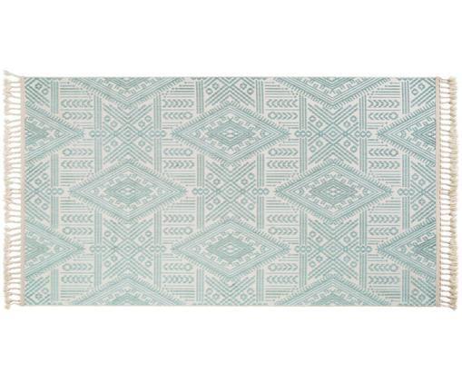 Vloerkleed Laila Tang met hoog-diep effect in turquoise en crèmekleurig, Bovenzijde: polyester, Onderzijde: katoen, Crèmekleurig, turquoise, 80 x 150 cm