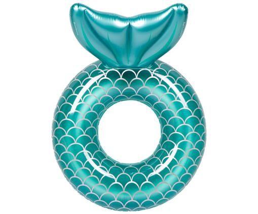 Dmuchany materac Mermaid, Tworzywo sztuczne (PVC), Turkusowy, Ø 110 x W 60 cm