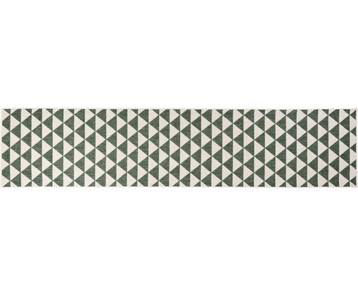 In- & outdoor loper Tahiti, Polypropyleen, Groen, crèmekleurig, 80 x 350 cm