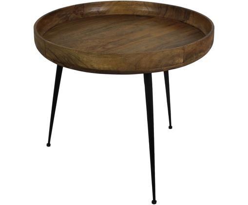 Couchtisch Ventura im Industrial Stil, Mangoholz, Metall, Braun, Schwarz, Ø 60 x H 52 cm