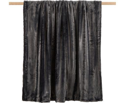 Kunstfell-Plaid Alva, Vorderseite: 100% Polyester (Kunstfell, Rückseite: 100% Polyester (Fleece), Dunkelgrau, 150 x 200 cm