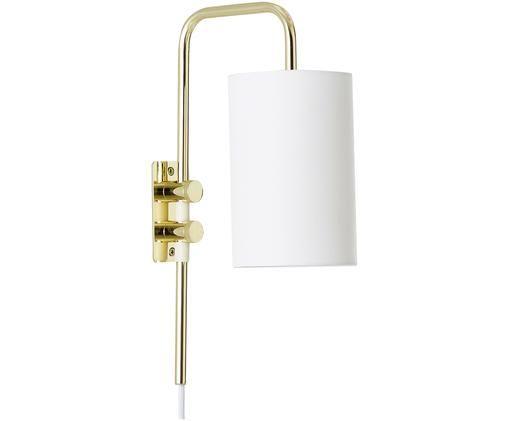 Wandleuchte Isa mit Stecker, Lampenschirm: Baumwollgemisch, Lampengestell:Goldfarben, glänzendLampenschirm:Weiß, 12 x 38 cm