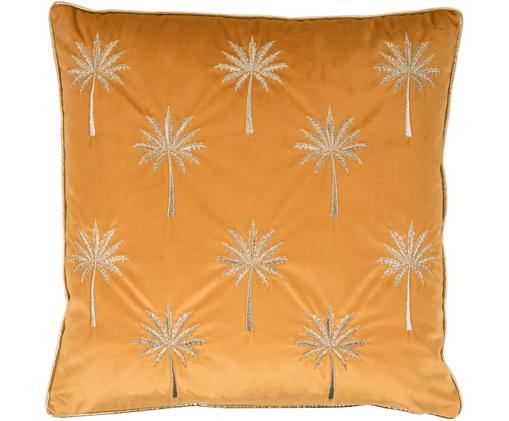 Bestickte Samt-Kissenhülle Palms mit Keder, Samt (Polyester), Orangegelb, Goldfarben, 45 x 45 cm