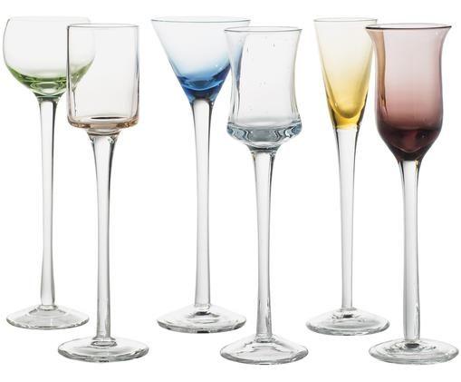 Set bicchieri per liquore Muse, 6 pz., Verde, blu, marrone, giallo, lilla, trasparente