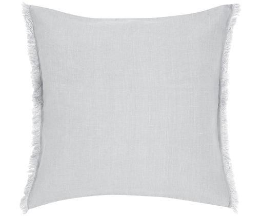Poszewka na poduszkę z lnu z frędzlami Luana, Len, Jasny szary, S 40 x D 40 cm