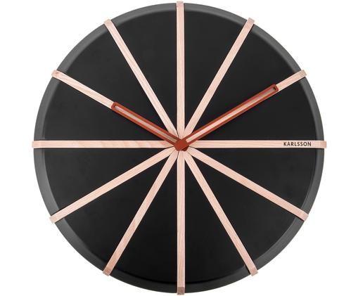 Orologio da parete Lines, Pannello di fibra a media densità (MDF), Nero, legno, rosso, Ø 35 cm
