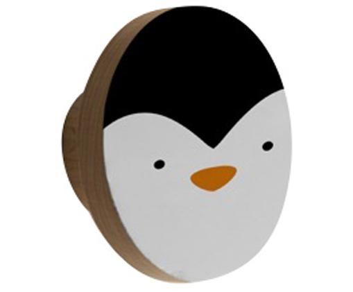Patère Penguin, Blanc, noir, orange