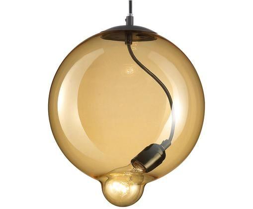 Pendelleuchte Goccia, Lampenschirm: Glas, Bernsteinfarben, Schwarz, Ø 25 x H 30 cm