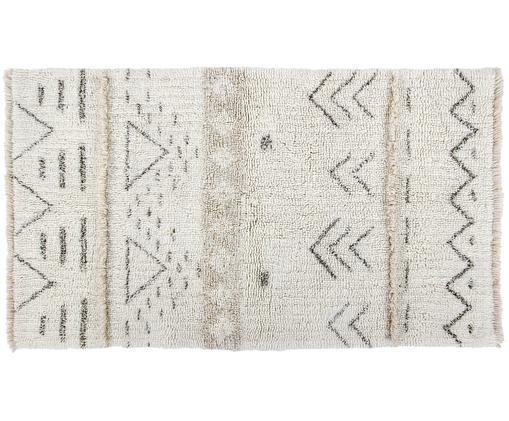 Waschbarer Wollteppich Lakota Day, Flor: Wolle, Creme, Beige, Dunkelgrau, B 80 x L 140 cm (Größe XS)